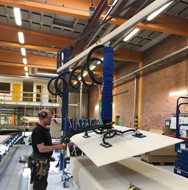 lightweight aluminium jib crane with vacuum lifter