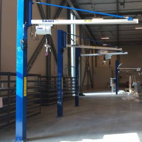 column mounted jib cranes on factory floor