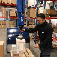 Forklift attachment for box lifting