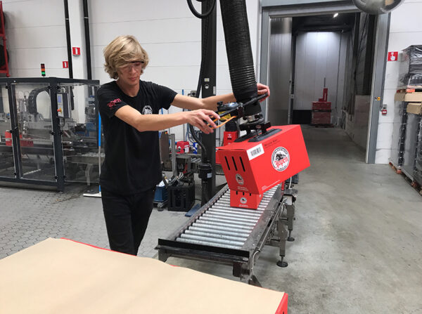 Woman lifting boxes from conveyor to pallet using handheld vacuum lifter