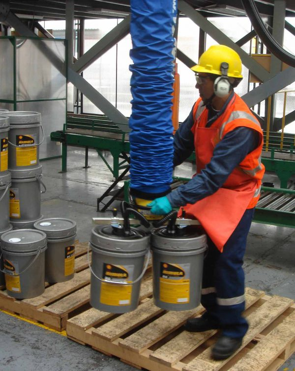 man lifting two pails with handheld vacuum lifter