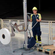Transporting and tilting reels with lifting trolleys