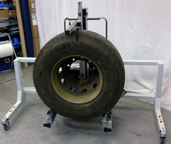 tyre lifted by lifting trolley