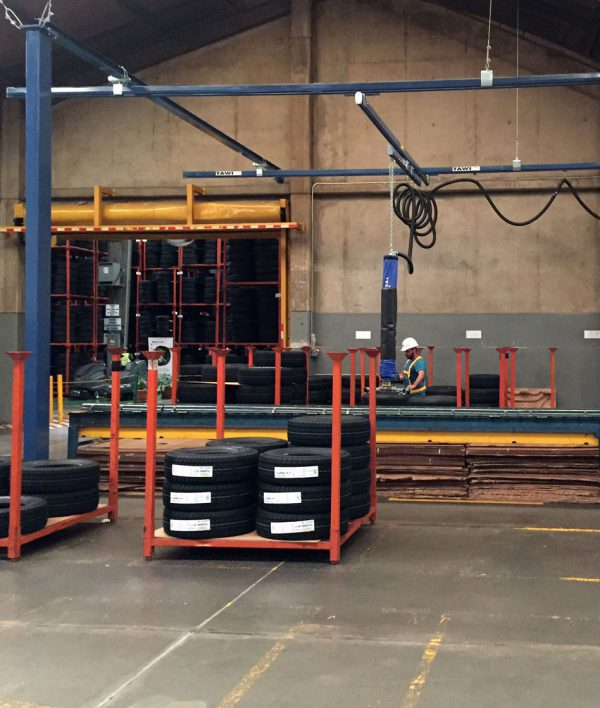 floor mounted crane system automotive industry setting