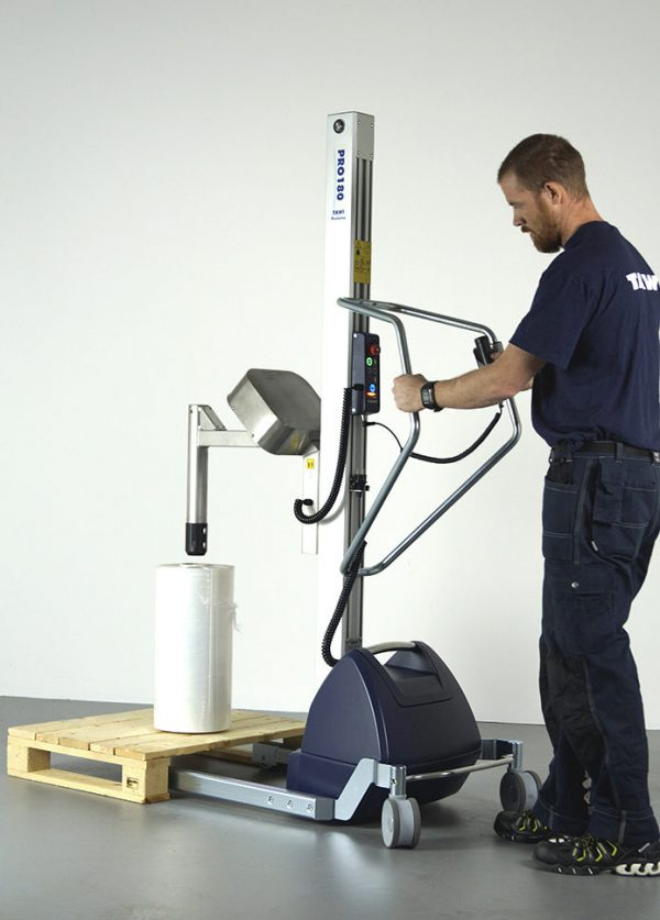 lifting reel from pallet with coregripper tool on lifting trolley
