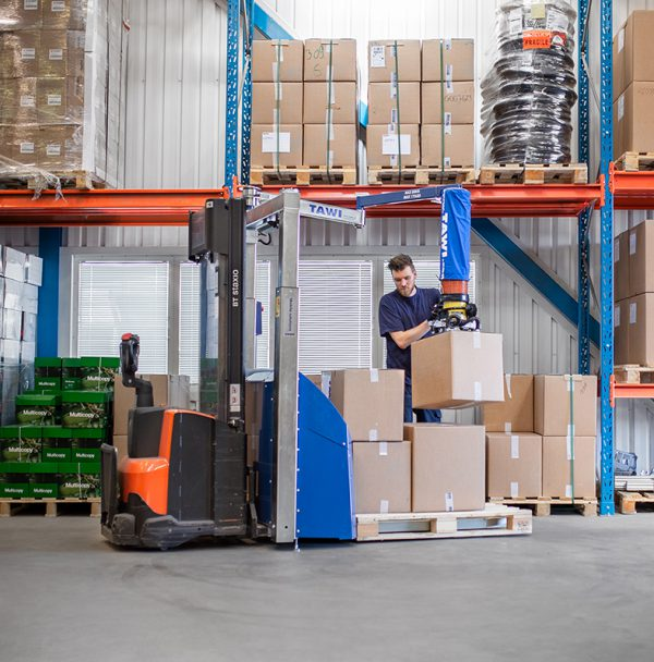 Mobile order picker in logistic warehouse