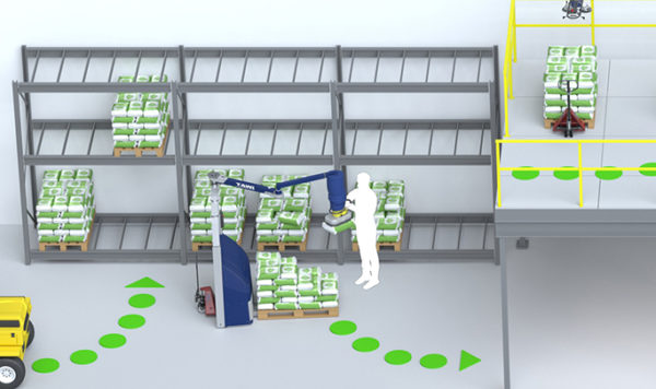 Food industry lifting equipment for incoming goods