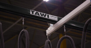 Close-up of TAWI overhead crane system