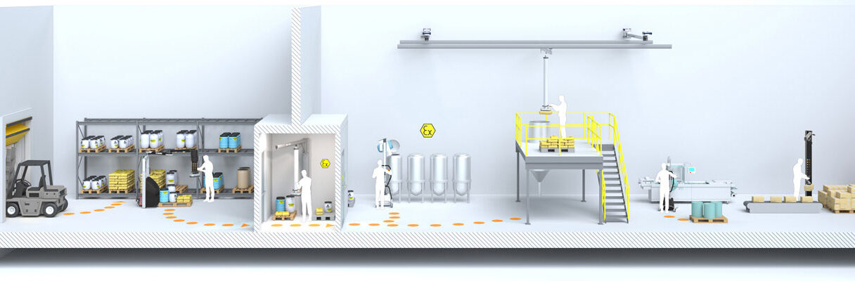 Illustration of chemical industry workflow