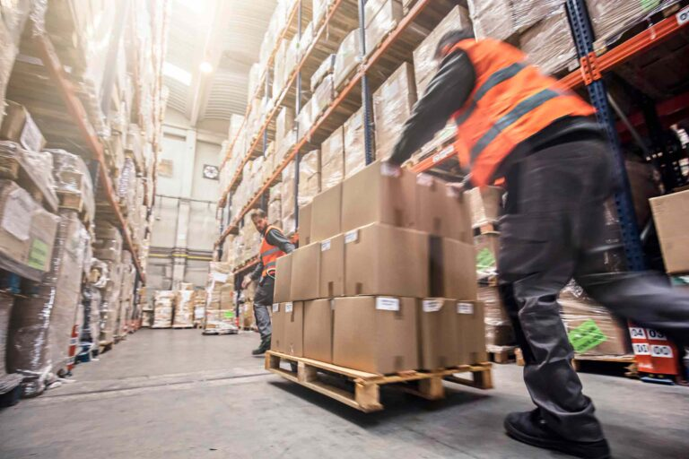 Warehouse workforce in action, efficiently picking orders